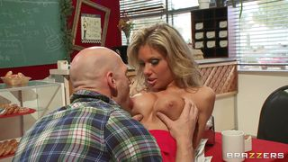hot blonde gets her tits licked by johnny sins