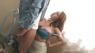 mature japanese entertains her partner