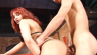 horny redhead shemale takes it with lust