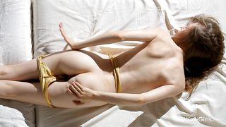 skinny milky white brunette masturbating solo