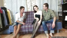 hot brunette fucking with two guys
