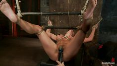 brunette milf with sexy boobs tied and punished