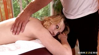 hot blonde getting a massage
