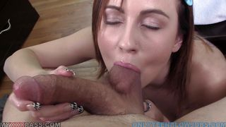 young slut slurps down a big meatstick