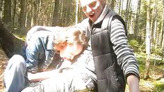 naughty russian babe sucking a cock in the forest