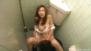 naughty japanese babe gets fucked in a public bathroom