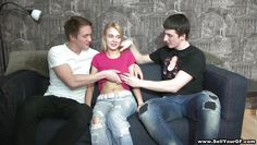 two guys one teen blonde
