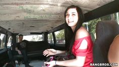 brunette chick getting in the bang bus