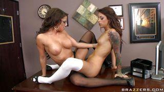 horny lesbians fucking on desk