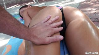 nude babe gives a pov handjob