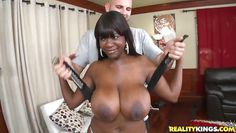 white guy seduces a big titted black milf