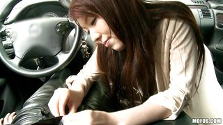 cute asian girl getting horny in a car