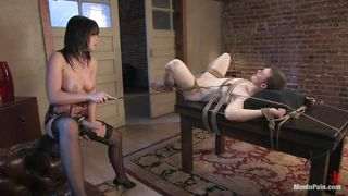 brunette gives some pleasure and pain to her man