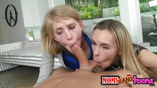 guy gets threesome with lesbian mom & daughter!