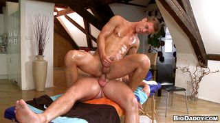 naughty masseur continues his massage with a blowjob and more