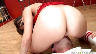 hot girl in red dress gets her pussy licked