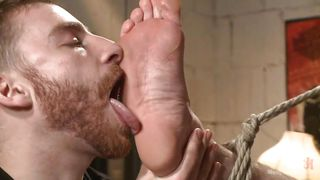 gay slave has his soles licked