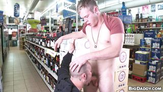 dirty sexy dude sucking cock in a super-shop
