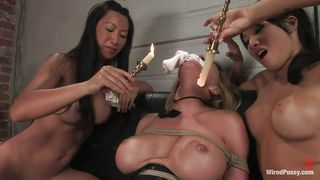 blonde milf fucked and dominated by two asian sluts