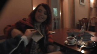 horny brunette chick in a restaurant