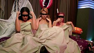 three hottie chicks blindfolded in a game show