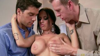 two lucky guys will fuck a hot brunette at work