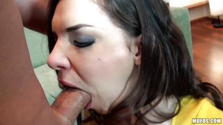 brunette with black panties pussy licked and fucked
