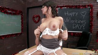 slutty teacher celebrating valentines day