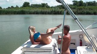 horny blonde gets her pussy licked on a boat