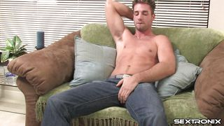 pretty white boy masturbating on the couch