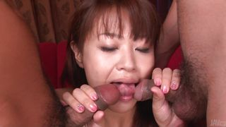 asian girl sucking cock with lust