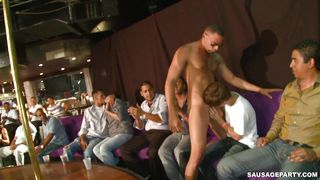 gay stripper getting blowjobs from multiple guys