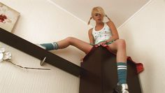 crazy blonde cutie masturbates at high standards