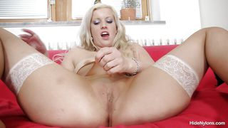 luscious blonde whore and her love for nylon