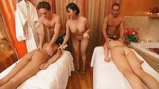 this foursome has a wild time at a massage parlor