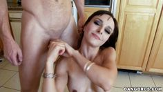 beautiful milf knows how to handle things in the kitchen