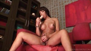 brunette shemale licking her lips with desire