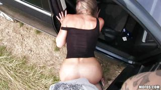 slutty hitchhiker gives in to horny driver