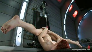 ginger slut tries to burn out this machine's motor!