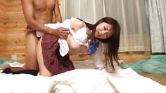 japanese brunette babe gets drilled from behind