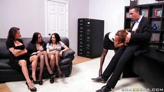 four brunettes start sucking on their bosses cock