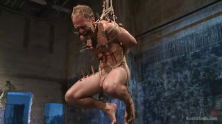 hanging gay guy is brutally whipped