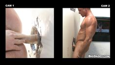 sexy hunks having a hardcore through gloryhole!