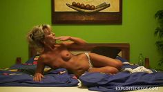 blonde cute ex gf masturbating in bedroom