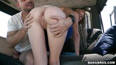 sexy blonde babe sucks in the bang bus