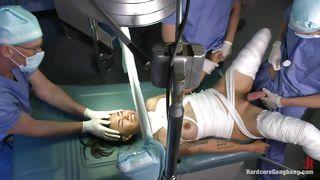 injured brunette chick gets gangbang in hospital