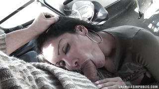 transsexual and horny guy are having fun in a bus