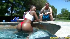ebony milf gets to suck a huge dick