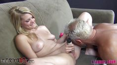 lucky guy licking young blonde slut vagina
