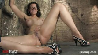 dorky milf enjoying piss on her naked hot body